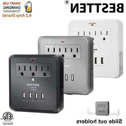 Electrical Multi 3 Outlet 3/4 USB Port Wall Tap Surge Protec