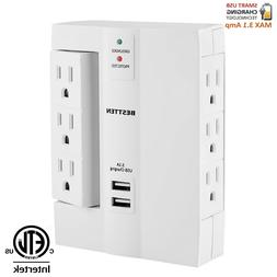 6 Outlet Wall Tap Surge Protector Suppressor 3 Side Swivel w