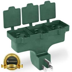 Green 3 Way Outlet Outdoor Wall Tap Adapter Extension Groun