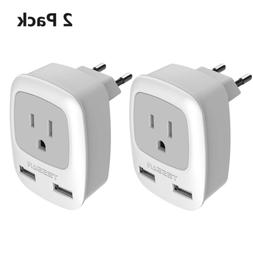 European Plug Adapter 2 Pack, TESSAN 3 in 1 Travel Power Out