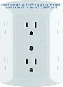 Extra Wide Spaced Wall Plug Adapter Power Strip With 6 Outle