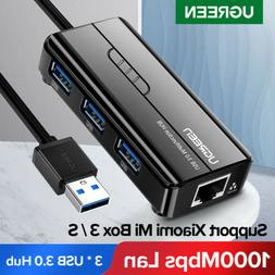 Ugreen 3 Ports USB 3.0 Gigabit Ethernet Lan RJ45 Network Ada