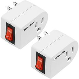 Grounded Outlet Adapter 2 Pack, Kasonic 3 Prong Grounded Sin