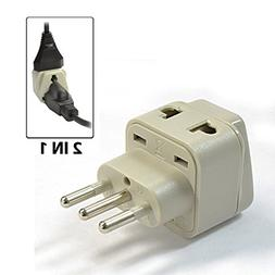 EopZol™ Grounded Universal 2 in 1 Plug Adapter Type L for