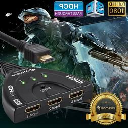 Fosmon HD1831 3-Port HDMI Switch with Pigtail Cable