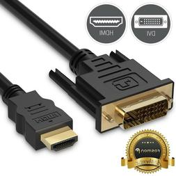 6FT HDMI to DVI D 24+1 Male Gold Adapter Cable HDTV Projecto