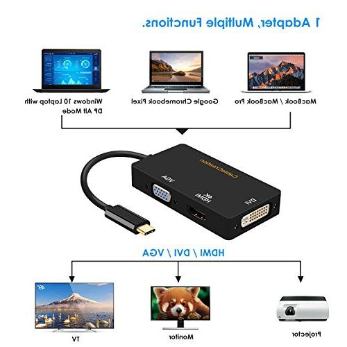 CableCreation in USB Type to DVI 4K + VGA Adapter, Compatible MacBook,iPad Pro/MacBook Air Pixel,Dell 13/15,, cm