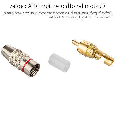 20-pack RCA Plug Solder Free Plated Audio Connector
