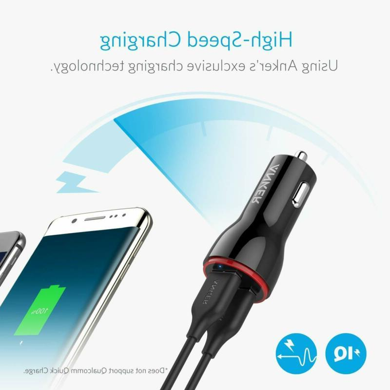 Anker 24W 2 Car Charger PowerDrive Fast 3.0 Black