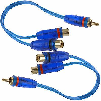 """2x 7"""" RCA Audio Jack Cable Y Splitter Adapter 1 Male to 2 Fe"""