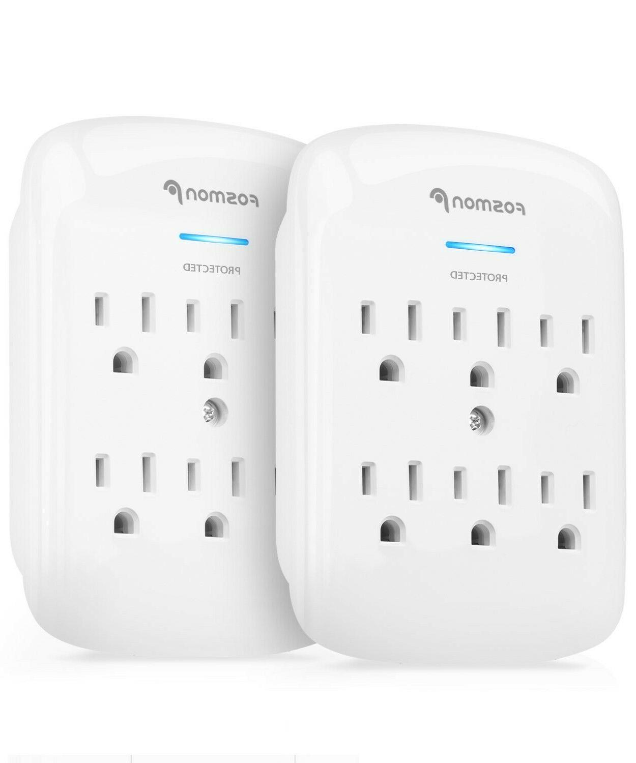 Fosmon 2x 6 Outlet Surge Protector Multi Plug Wall Adapter T