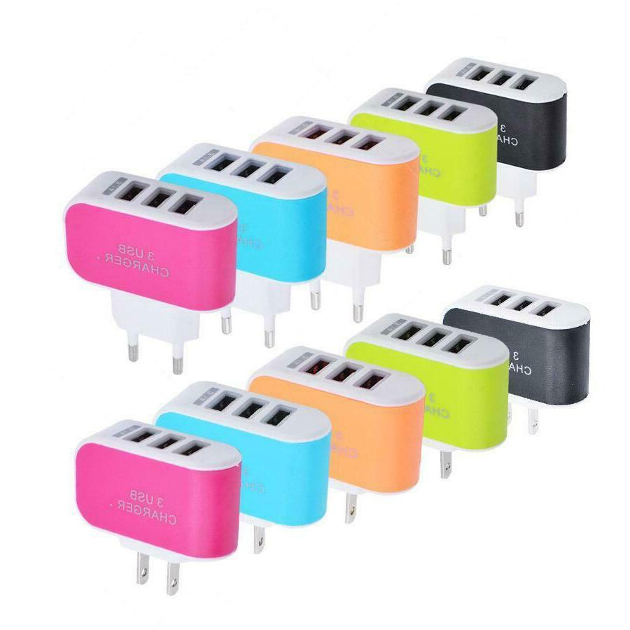 3 USB Charger Station Travel Power Adapter for Cell