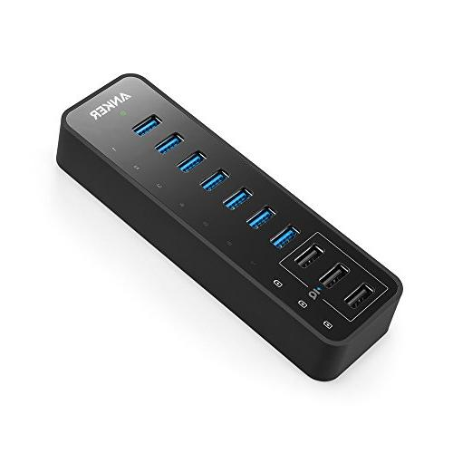 Anker 10 Port 60W Data Hub with 7 USB 3.0 Ports and 3 PowerI