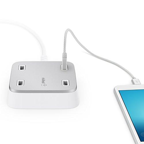 Belkin Family Wall-Mountable 4-Port Station Hub with 10-Foot Cable, Compatible Most Micro USB including Fitbit Blaze HR