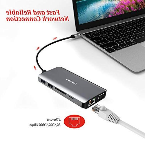 Lenovo Type Adapter 4K HDMI, VGA, Gigabit Ethernet, USB C Power Delivery, USB 3.0, USB Card Reader, Audio For Devices