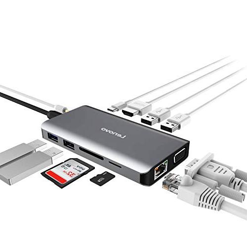 Lenovo USB C Hub, Type C Adapter With 4K HDMI, VGA, Gigabit