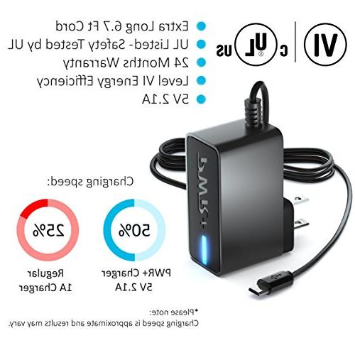 PWR+ Extra Long 6.5 Adapter Charger for 3, A, S, 8.0 8.4 9.6 9.7 Pro Kids Google-Nexus Eta-u90jwe