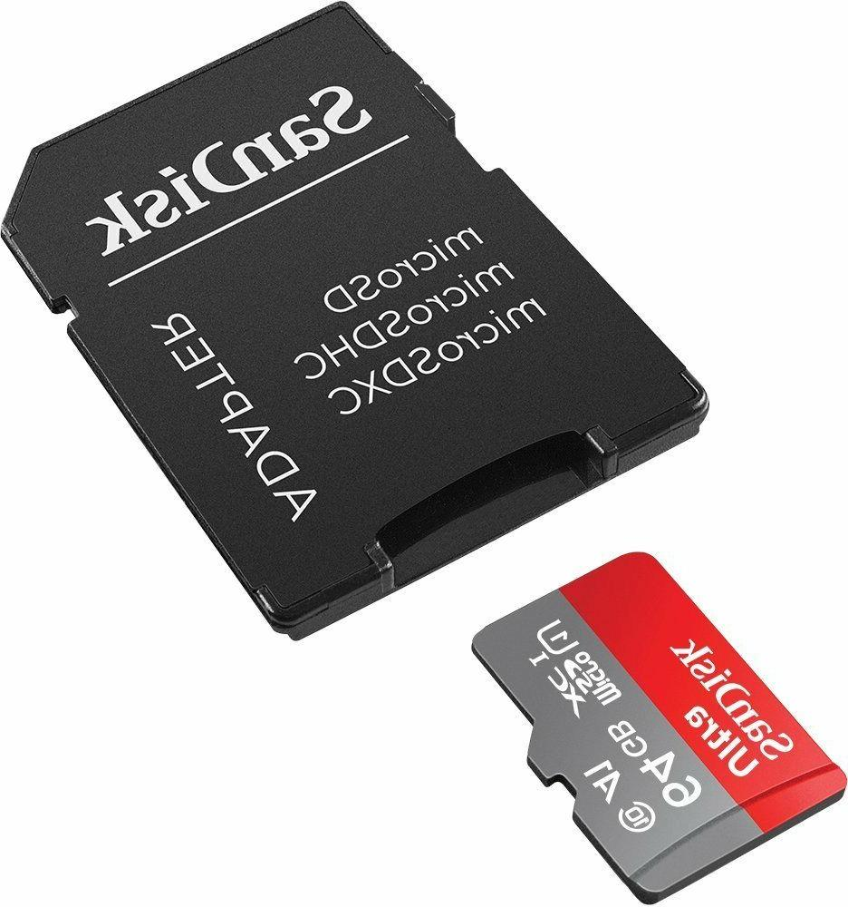 SanDisk Ultra 64GB microSDXC UHS-I Card with Adapter, Grey/R