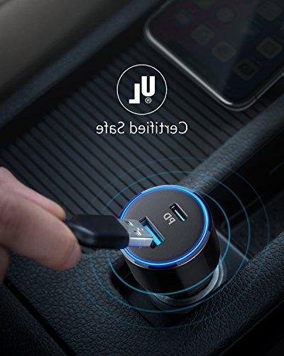 USB Car Charger, Anker PowerDrive 2 Adapter for MacBook Pro/Air iPad Pro , iPhone XS/Max/XR/X/8, 19.5W Fast Charge Port S9/S8