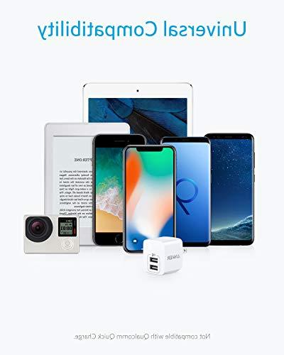 USB Charger, Anker Dual 12W Wall Charger PowerPort iPhone Xs/XS Plus, iPad, Samsung Note 5/ Note