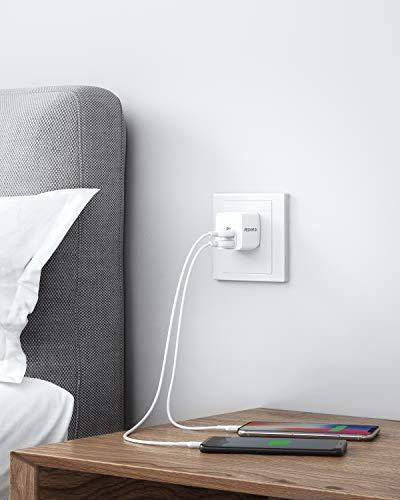 USB Charger, Dual Port Charger PowerPort for iPhone Xs/XS Plus, iPad, Samsung Galaxy Note 5/ Note HTC, Moto, and More