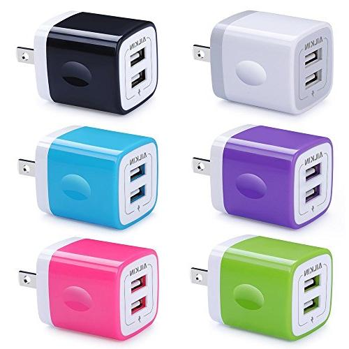 USB Wall Charger, Adapter, Ailkin 6-Pack 2.1Amp Dual Port Qu