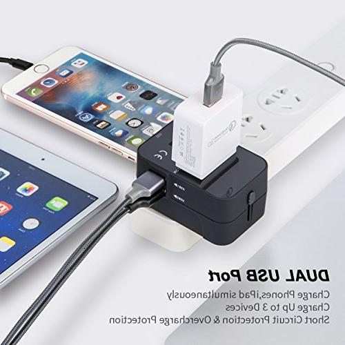 in One Universal Travel Adaptor AC Plug with USB Charging UK Cell Laptop