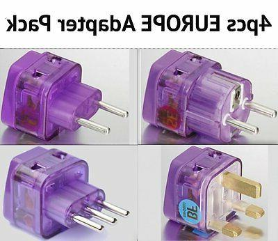 4 Pc Travel ADAPTER Plugs for EUROPE UK UNITED KINGDOM ENGLA