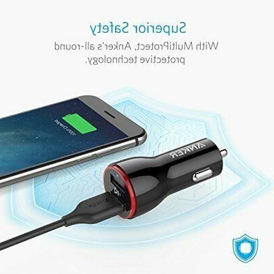Anker USB Car Charger Adapter Fast Charge Black White