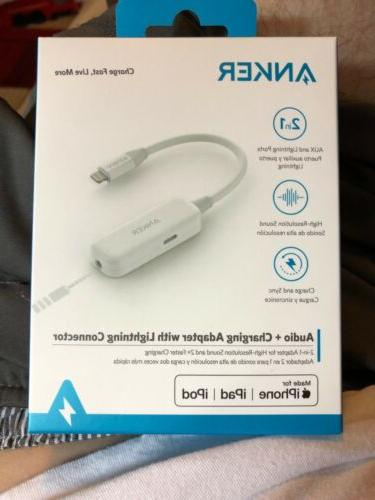 audio charging adapter with lightning connector