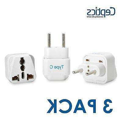 Ceptics Type C Grounded Universal Plug Adapter for Europe 3