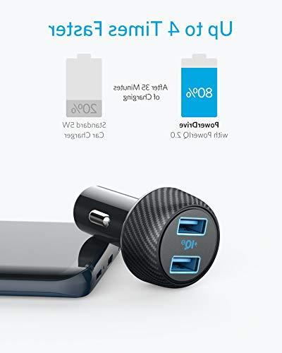 Car Charger , 30W USB Fast Charger PowerDrive Speed 2 with for Galaxy S9/S8/Edge/Note, iPhone Xs/Max/XR/X/8,