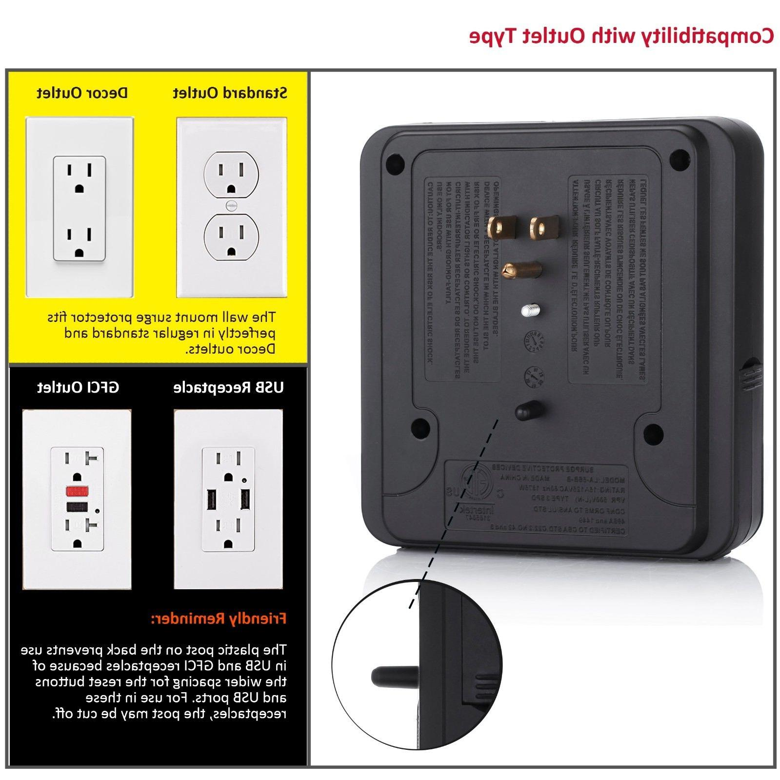 Electrical Multi Outlet 3/4 Port Wall Tap Protector Adapter Charger