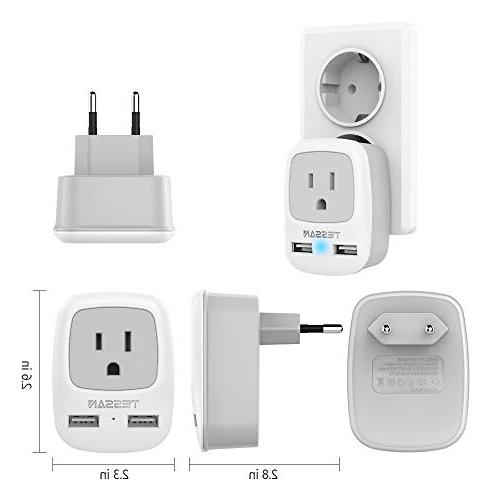 European Travel Plug TESSAN Universal Power Plug with Dual Ports, 1 AC Outlet USA to of EU Europe