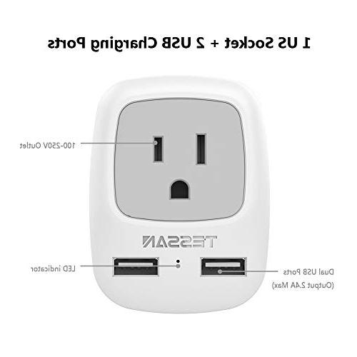European Travel Adapter, TESSAN Universal Plug with USB Ports, 1 AC Outlet USA to of Europe