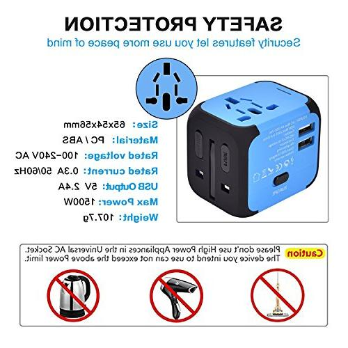 International Adapter Converters Universal Plug 2 USB Charger One for European UK 160