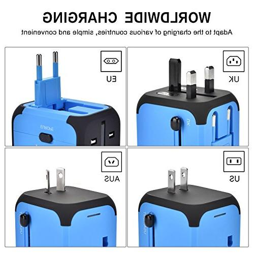 International Adapter Converters Universal Plug 2 Charger Worldwide One AC Outlet for EU UK Countries