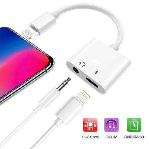 For iPhone X MAX 8 IOS Aux Audio Charge Cable Dongle