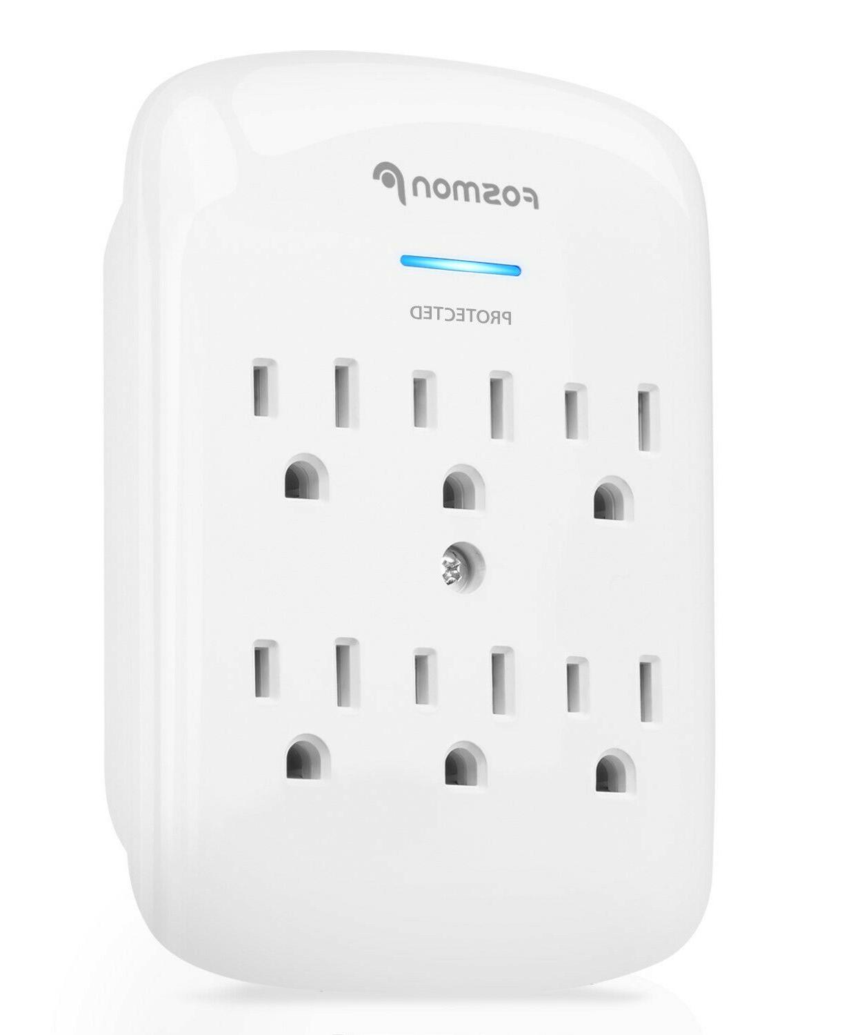 Fosmon 6 Outlet Surge Protector Multi Plug Wall Adapter Tap