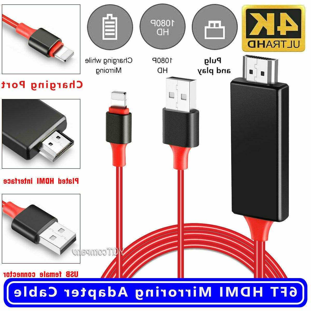 Lightning to 1080p 8Pin HDMI HDTV AV TV Adapter Cable Cord For iPhone 6//7//8//x US