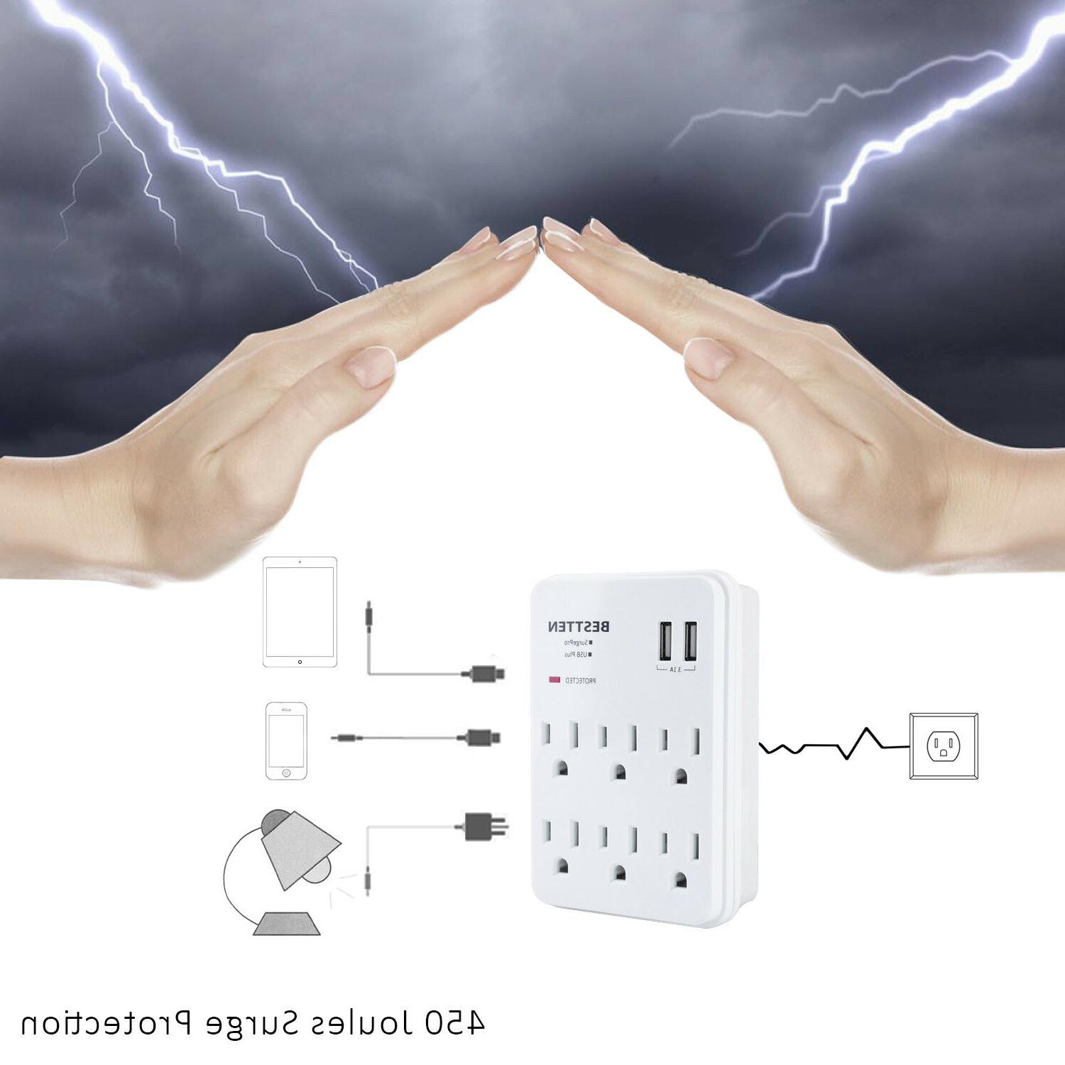 Surge Protector Adapter Multi Outlet Plug USB Ports