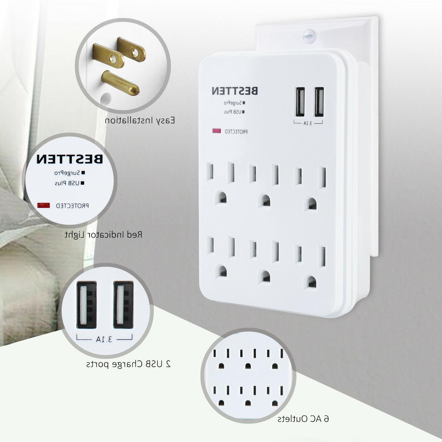 Surge Protector Wall Adapter Outlet Plug 2 Ports