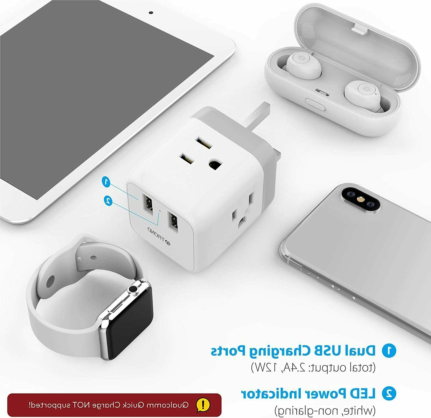 UK to US Travel Power Adapter USB and American Sockets,Type G