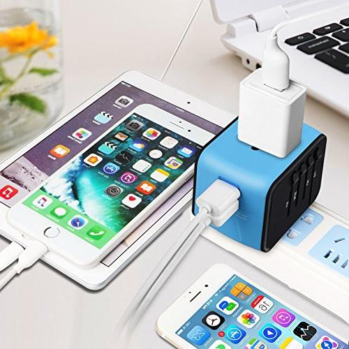 Universal Adapter, All-in-one 2.4A Dual USB, Adapter Wall Charger UK, AU, Covers 150+Countries