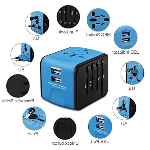 Universal Travel Adapter, All-in-one International Power Adapter Travel Wall UK, EU, AU, Asia Covers 150+Countries