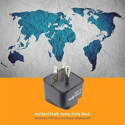 Miami CarryOn Universal Power Travel Adapter, EU / AU CN to Grounded