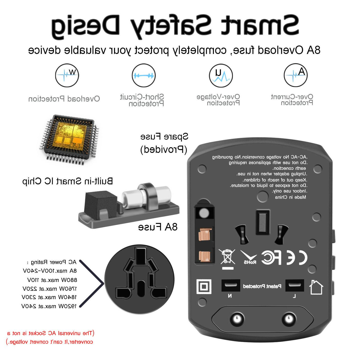 Universal Travel Adapter Charger AC AU