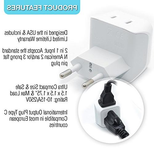 European Plug Ceptics Europe Power Charger Ultra Compact Light Weight - USA to any such Austria and