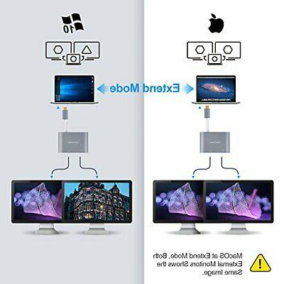 CableCreation C HDMI + Adapter,Dual Monitor Splitter,Compatible