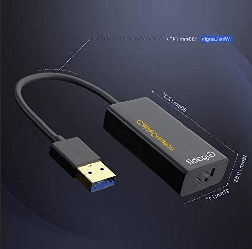 USB CableCreation to RJ45 Gigabit Adapter Supporting 10/100/1000 Ethernet, No Black